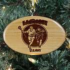 Engraved Lacrosse Wooden Oval Ornament