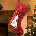Embroidered Burgundy Christmas Tree Stocking