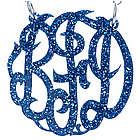 Blue Glitter Acrylic Monogram Necklace