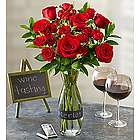 Merlot Rose Bouquet with Wine Carafe Vase