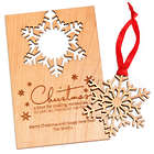 Personalized Wooden Christmas Card with Snowflake Ornament