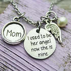 I Used To Be Her Angel Mom Memorial Birthstone Necklace