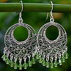Moroccan Mint Sterling Silver Chandelier Earrings