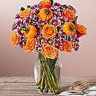 Pumpkin Patch Roses and Poms Small Bouquet