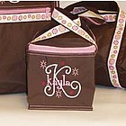 Chocolate Brown & Pink Personalized Lunch Box