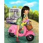 Scooter Girl Caricature from Photo Art Print
