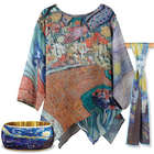Van Gogh Tunic with Starry Night Bangle and Scarf Gift Set