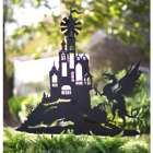 Castle and Dragon Silhouette Garden Stake