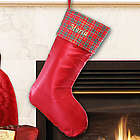 Embroidered Red Satin Stocking with Plaid Trim