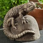 Handcrafted Cast-Stone Ike the Lizard Garden Statue
