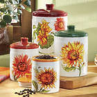 4 Piece Rustic Sunflower Canister Set