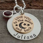 Personalized Two-Tone Love You to the Moon and Back Necklace