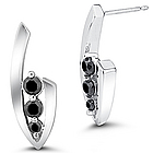 Black Diamond Three-Stone Earrings in 14K White Gold