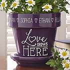 Purple Love Grows Here Personalized Flower Pot