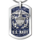 US Navy Stainless Steel Reversible Dog Tag Necklace