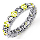 Yellow Sapphire and Diamond Platinum Eternity Band