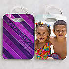 Stripes Personalized Photo Luggage Tag Set