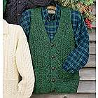 Irish Fishermen's Cable Knit Wool Vest