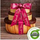 Organic Fruit and Nut Gift Tower with Thank You Ribbon