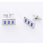 Blue Rectangle Cufflinks with Personalized Case