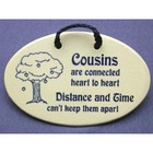 Handcrafted Cousins Ceramic Wall Plaque