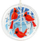 "Winter Cardinals 3"" Fused Glass Ornament"