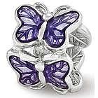 Sterling Silver and Purple Enamel Butterfly Bead