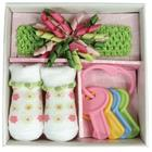 Baby's Swirly Flower Curly Headband and Socks Gift Set