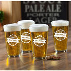 Personalized Pub Glass Set with Bottle Top Design