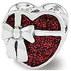Sterling Silver and Red Enamel Heart Bead