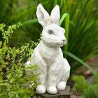 Woodcut-Style Rabbit Garden Statue