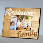Family's Personalized Wood Grain Picture Frame in Brown