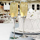Engraved Mr. and Mrs. with Wedding Date Champagne Flutes