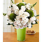 Serenity White Roses and Dianthus Balls Bouquet