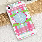 Personalized Preppy Plaid iPhone Case in White Trim