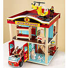 Fire Station Set with Rooftop Helicopter Pad Toy
