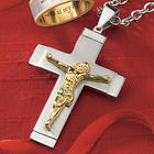 Stainless Steel Two-Tone Crucifix Pendant