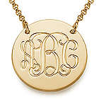 18 Karat Gold Plated Monogram Disc Necklace