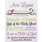 Personalized Baptism Information Canvas Wall Art