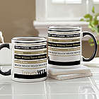 Signature Stripe Personalized Black Handle Mug