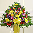 Heartfelt Sympathies Bright Flowers Standing Basket