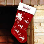 Embroidered Red Velvet Stocking With White Santa Sleigh