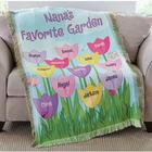 Personalized Tulip Garden Throw Blanket