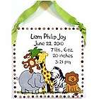 Personalized Zoo Animals Design Birth Announcement Plaque