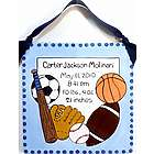 "8"" Birth Announcement Plaque in Sports Design"