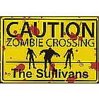Zombie Crossing Personalized Metal Wall Sign