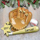 Personalized Baseball Mitt & Bat Ornament