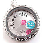 Personalized Flower Girl Themed Glass Locket Necklace