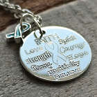 Personalized Words of Wisdom Awareness Ribbon Necklace