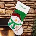 Embroidered Velvet Snowman Christmas Stocking